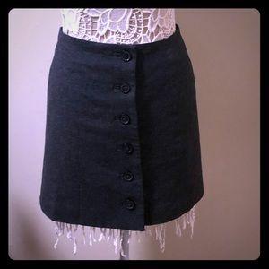 BR grey button up wool skirt